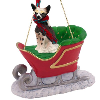 Chinese Crested Dog Sleigh Ride Ornament