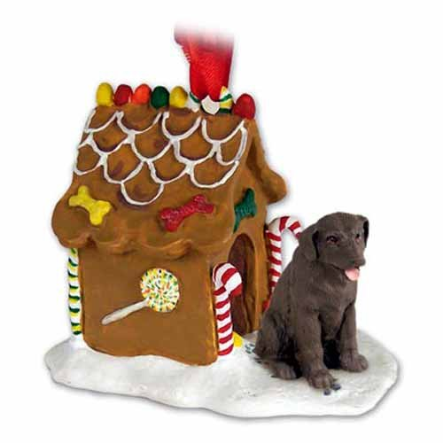 Chocolate Lab Retriever Gingerbread House Christmas Ornament