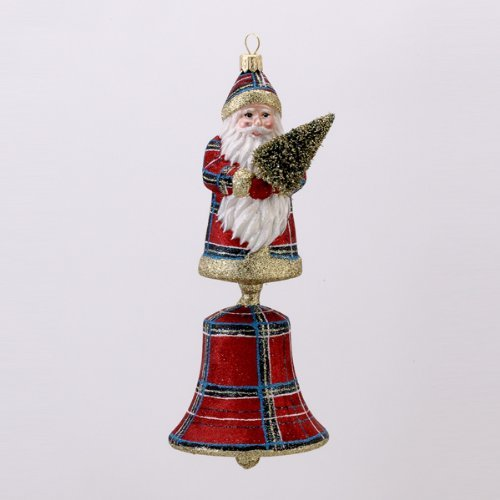 David Strand Kurt Adler Glass Plaid Santa Bell Stewart Ornament, 8.1-Inch by David Strand