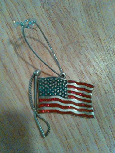 2002 Gloria Duchin Red Blue Enamel Pewter American Flag Ornament