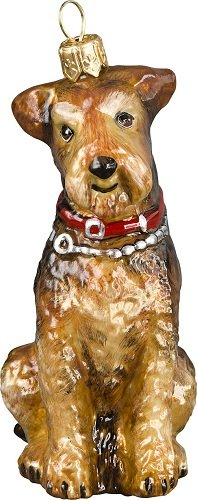 Airedale Dog Polish Blown Glass Christmas Ornament Decoration Made in Poland