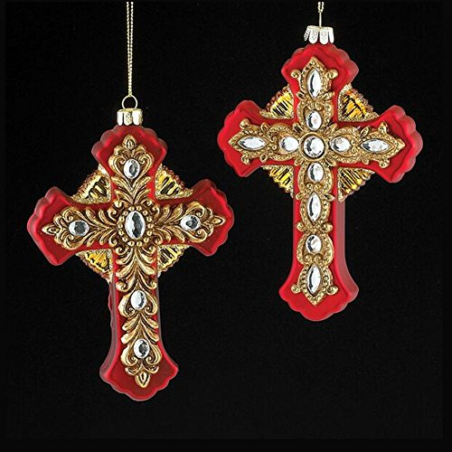 Kurt Adler Noble Gems Red & Gold Cross Christmas Tree Ornaments, Set of 2