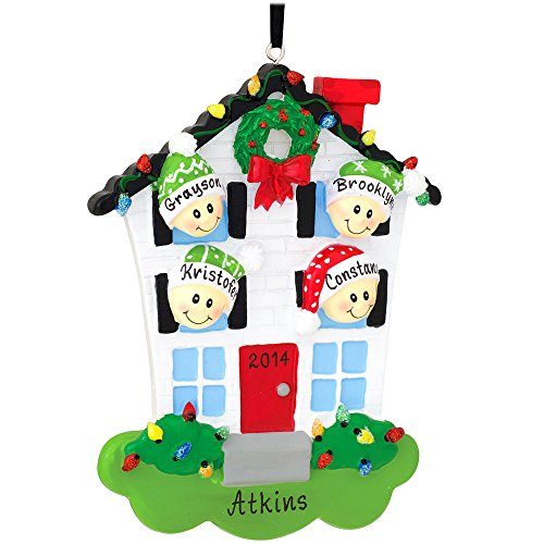 Personalized House With Family Of 4 Ornament