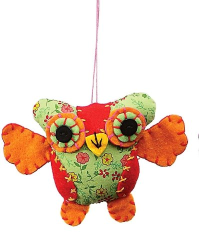 Creative Co-op Fabric Owl Ornament, Choice of Colors (orange/red)