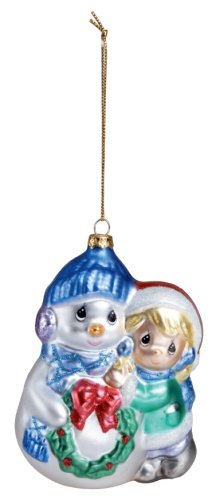 Precious Moments PWP Blown Glass Girl with Snowman Ornament