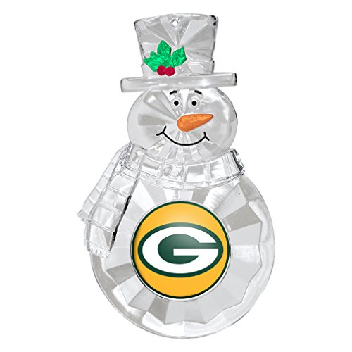 NFL Green Bay Packers Traditional Snowman Ornament, 4.5″, White