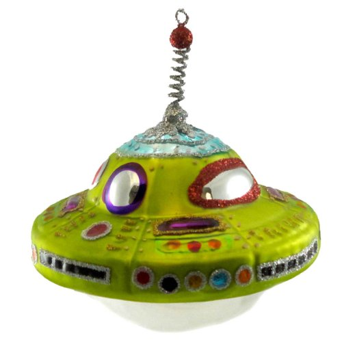 Holiday Ornament UFO Blown Glass Outerspace Ship Alien 3620246
