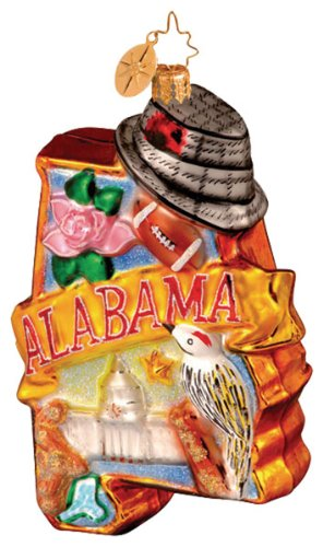 Christopher Radko BAMA BOUND STATE ORNAMENT ALABAMA