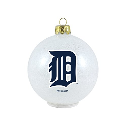 MLB Detroit Tigers LED Color Changing Ball Ornament, 2.625″, White