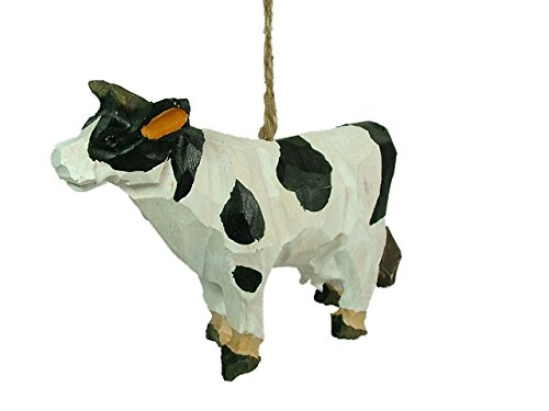 New Carved Wood Cow Baby Calf Animal Dairy Farm Milk Christmas Tree Ornament