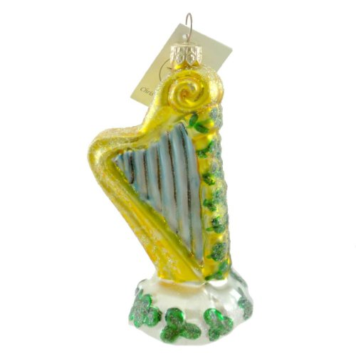 Christopher Radko CELTIC HARP Glass Ornament Irish Clover