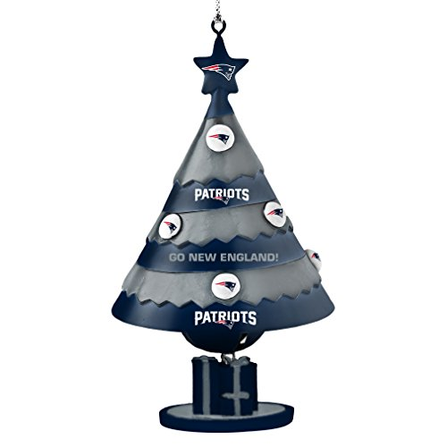 NFL New England Patriots Tree Bell Ornament, Blue, 5″