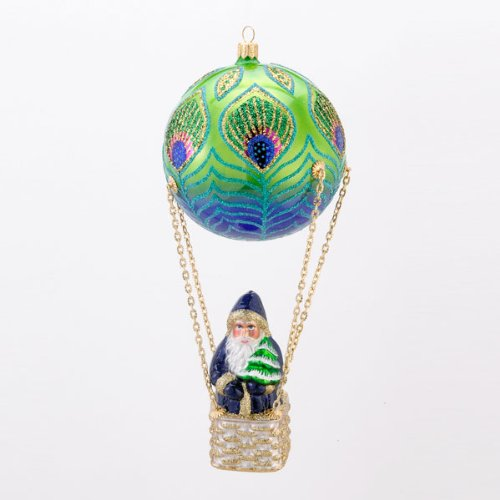 David Strand Designs Glass High Rise Peacock Santa in Balloon Christmas Ornament