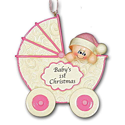 2015 Baby's First 1st Christmas Ornament Carriage Stroller Buggy Design in Pink for Baby Girl (Pink)