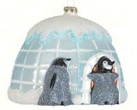 Penguin Igloo Glass Ornament