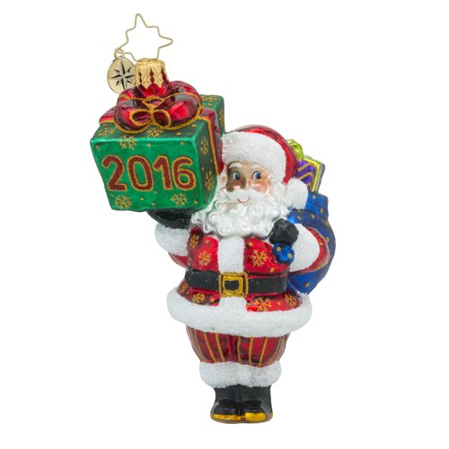 Christopher Radko 2016 Wrappin Up Santa Glass Christmas Ornament – 5″h.
