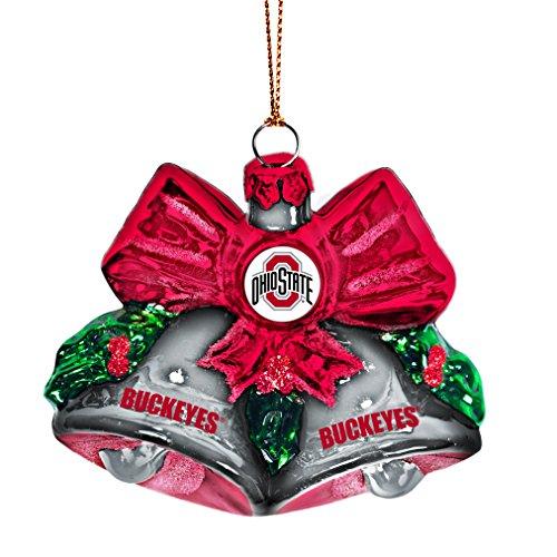 NCAA Ohio State Buckeyes Glitter Bells Ornament, Green, 3″ x 3″