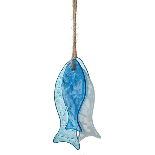 Sea Glass Hanging Fish Ornaments – Set of 3