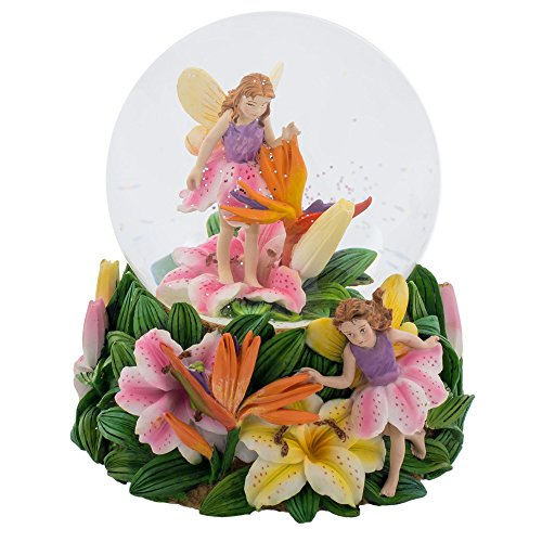 Fairies Walking on Tiger Lillies 100MM Music Water Globe Plays Tune Waltz of the Flowers