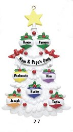 White Tree Family 7 Personalized Christmas Tree Ornament