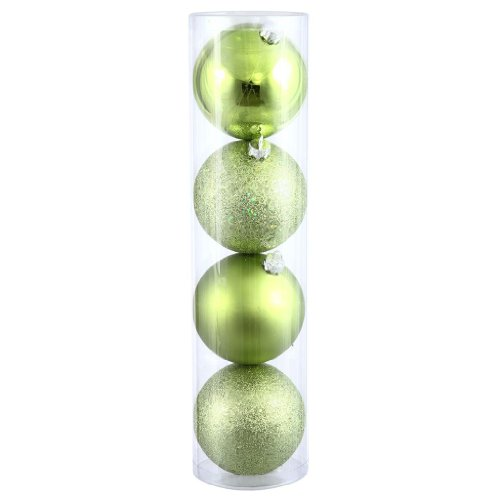 Vickerman 315804 – 6″ Lime Shiny Matte Glitter Sequin Ball Christmas Tree Ornament (4 pack) (N591513BX)