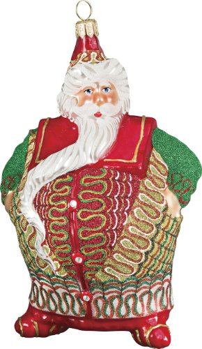 Glitterazzi Ribbon Candy Chubby Santa Ornament