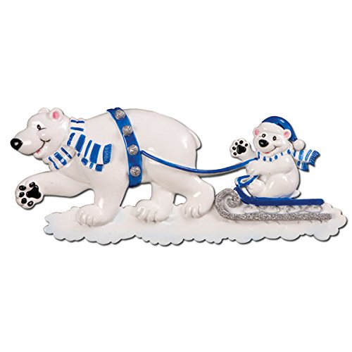 Polar Bear Pulling a sled Personalized Christmas Ornament