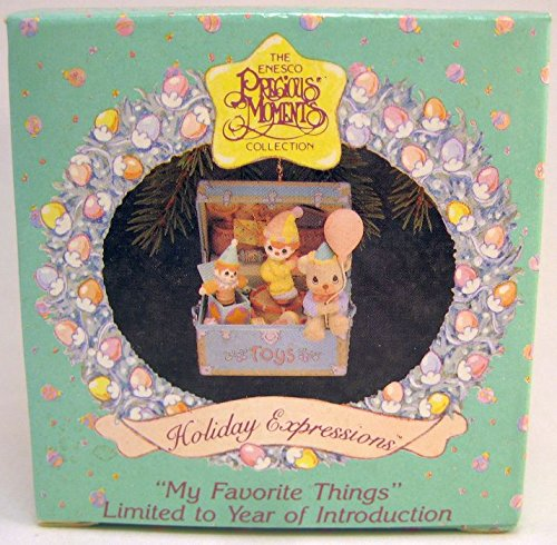 "Precious Moments Christmas Ornament ""My Favorite Things"" Toy Chest Clown Bear"