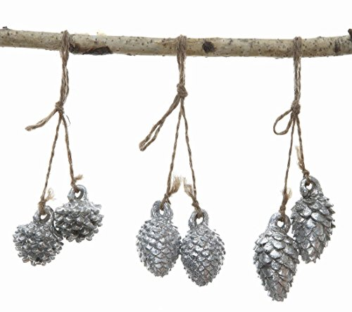 Set of 3 Pine Cone Christmas Tree Ornaments (Silver)