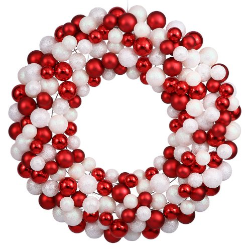 Vickerman Sparkling Red and White Candy Cane Shatterproof Christmas Ball Wreath Ornament, 24″