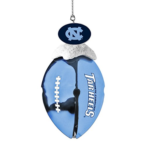 NCAA North Carolina Tar Heels Metal Football Bell Ornament, 2″, White