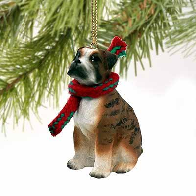 1 X Boxer Miniature Dog Ornament – Uncropped Ears – Brindle by Conversation Concepts