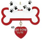 2247 Dog Gone Cute Bone Hand Personalized Christmas Ornament