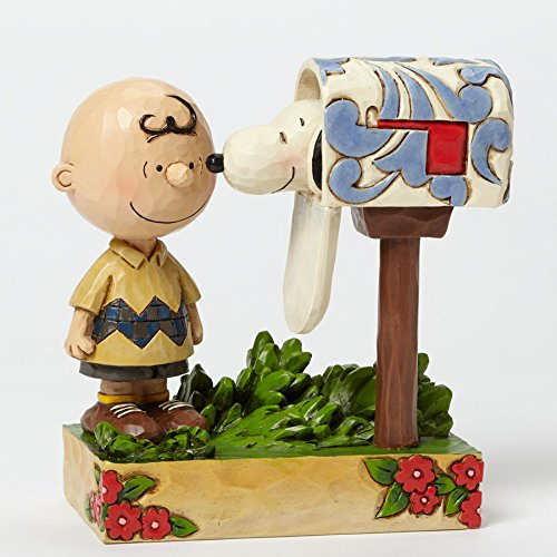Jim Shore Peanuts Collection Speical Delivery Charlie Brown with Snoopy in a mailbox Figurine