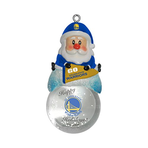 NBA Golden State Warriors Snow Globe Ornament, Silver, 1.5″