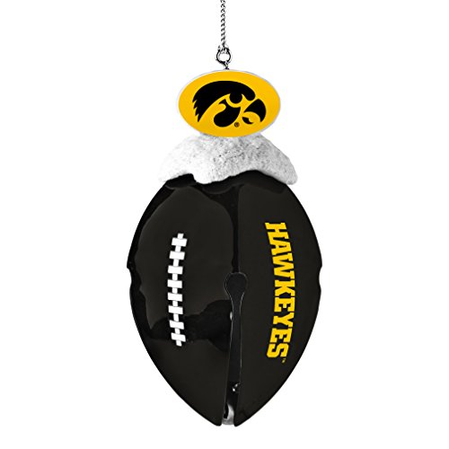 NCAA Iowa Hawkeyes Metal Football Bell Ornament, 2″, White
