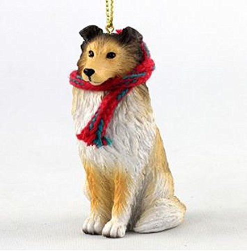 Sheltie with Scarf Christmas Ornament (Large 3 inch version) Dog