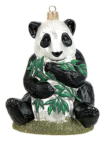 Panda Bear Polish Mouth Blown Glass Christmas Ornament Tree Decoration