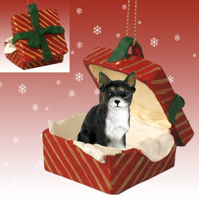 Conversation Concepts Chihuahua Black & White Gift Box Red Ornament