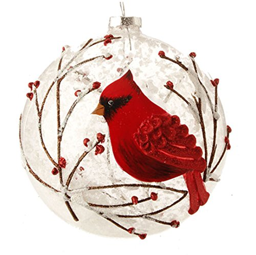 Snowy Red Cardinal & Branches Glass Ball Christmas Tree Ornament, 5 Inches