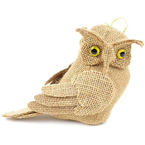 Midwest Design Burlap Bird Natural Owl, 7-Inch, 1-Pack