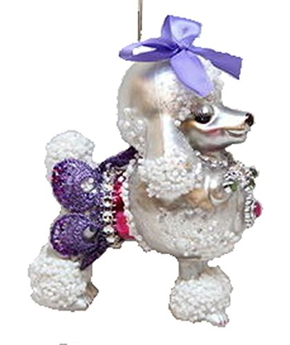 December Diamonds Blown Glass Ornament – Poodle with Purple Skirt and Purple Bow