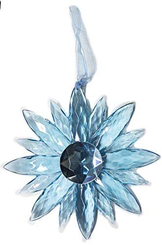 Crystal Expressions Acrylic 5 Inch Small Jewel Flower Ornament Suncatcher (Blue)