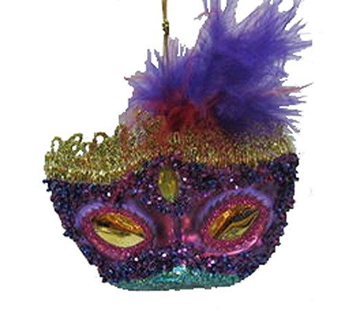 December Diamonds Blown Glass Ornament – Mardi Gras Mask