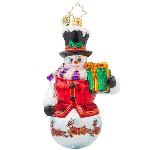 Christopher Radko Winterland Gent Snowman Glass Ornament – 5.5″h.
