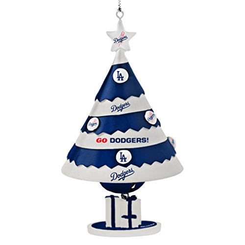 MLB Los Angeles Dodgers Tree Bell Ornament, Blue, 5″