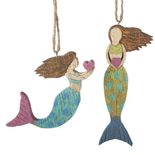 Folk Art Mermaid Sea Maidens Resin Christmas Holiday Ornaments Set of 2