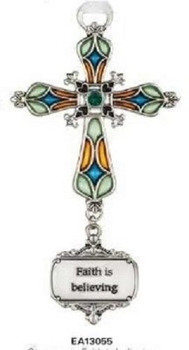 Ganz Faith Is Believing Stained Glass Cross Ornament Size: 3 1/2 inches