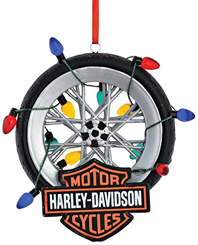 Department 56 Harley Davidson Tire Ornament in Lights