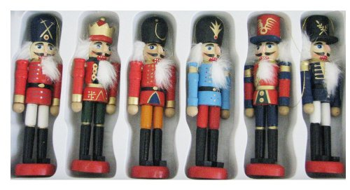 Wooden Nutcracker Ornament Set of 6,5-inch